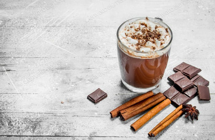 Hot chocolate with marshmallows and cinnamon.