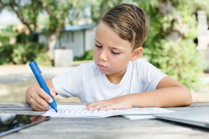 Little boy doing homework in garden