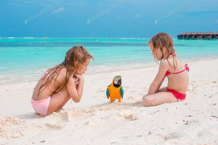 Adorable little girls at beach with colorful parrot