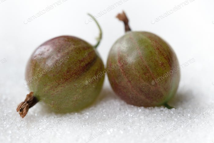 Gooseberry isolated over white sugar background.