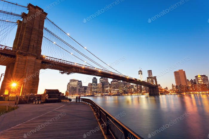 Brooklyn Bridge in New York at evening