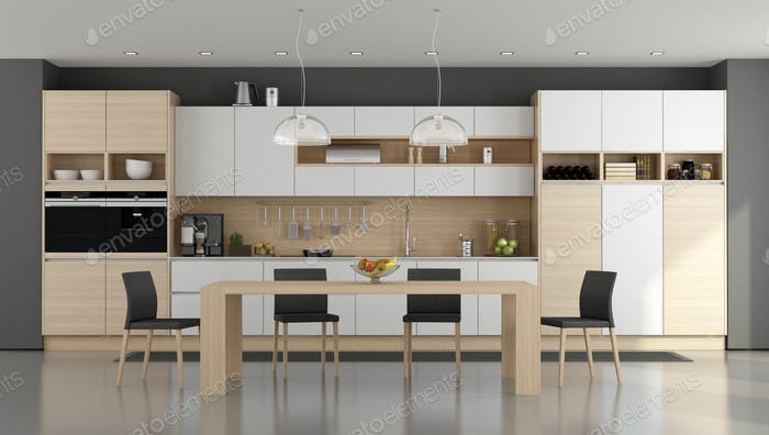 Wooden and white modern kitchen