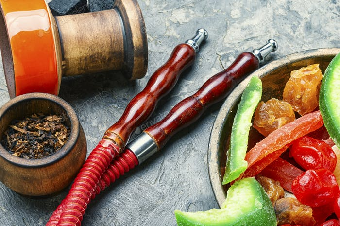 Turkish hookah with dried fruits