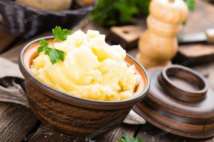 Mashed potato. Potato mash with butter and milk. Boiled potato. Potato puree