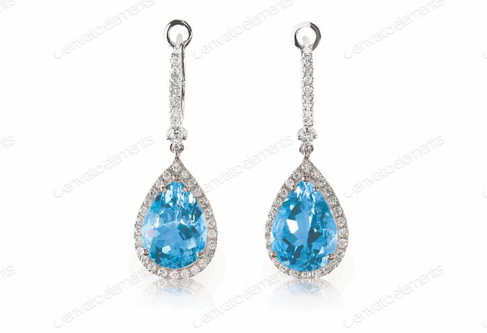 Beautiful Diamond aquamarine blue turquise dangle diamond earrings.