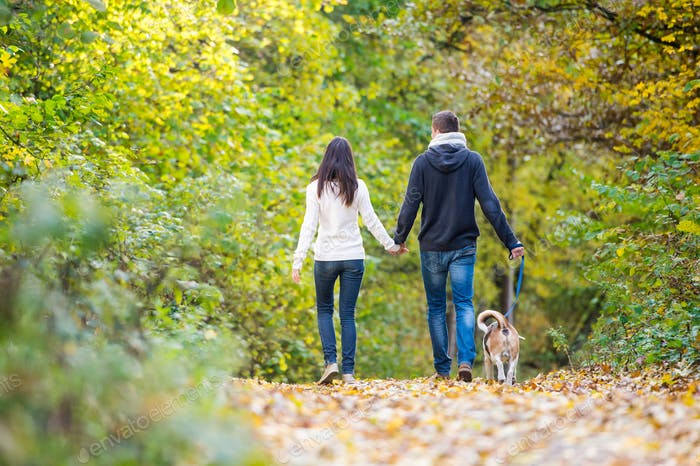 Young couple with dog on a walk in autumn forest