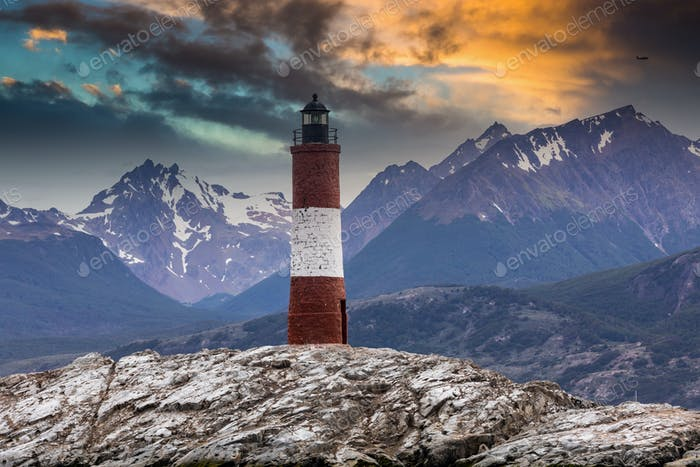 Eclaireus Lighthouse on the Beagle Channel, Ushuaia Argentina