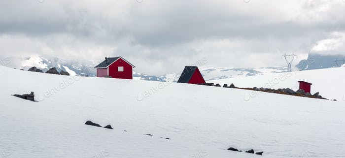 Typical norwegian red wooden house