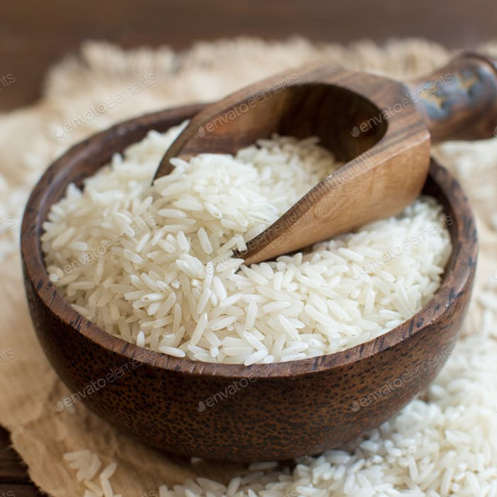 Basmati rice in a bowl with a spoon