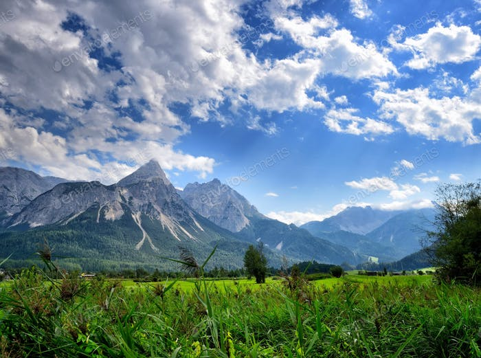 Summer mountain landscape in the Alps. View of the Ehrwalder Son