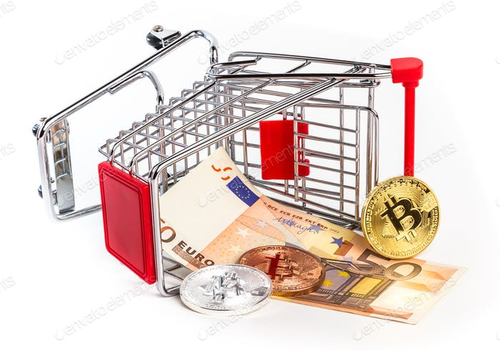 Bitcoins and fifty euro banknote in overturned shopping cart