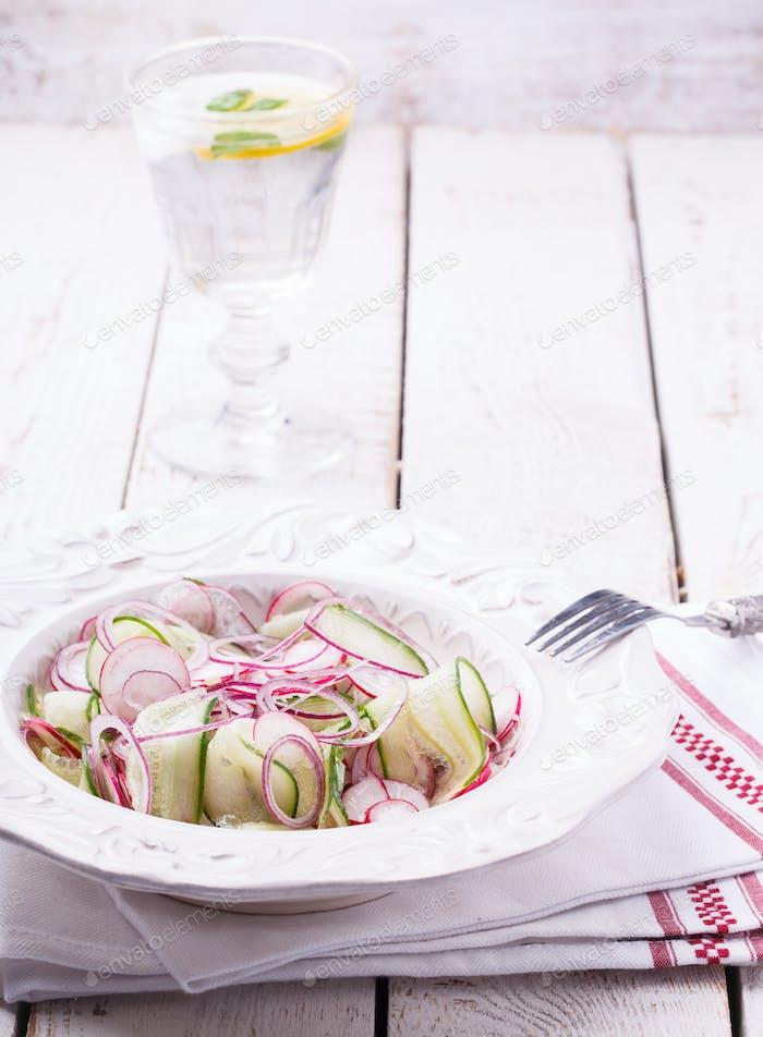 Salad with cucumber, radishes