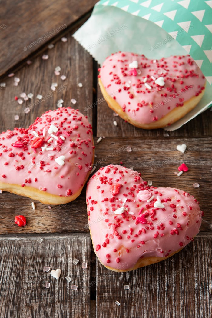 Pink heart donuts