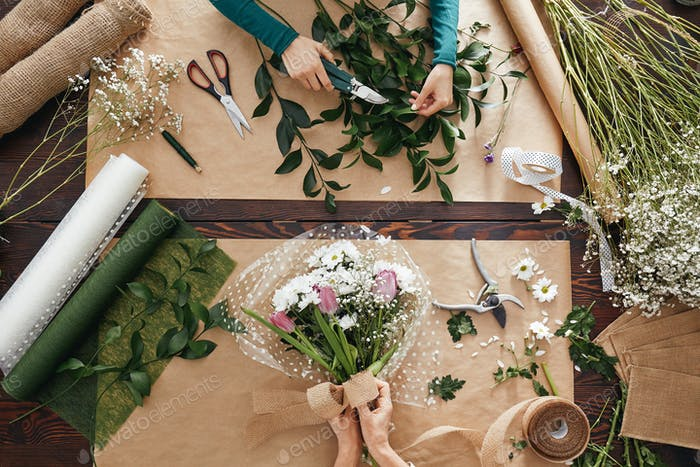 Florist creating flower display