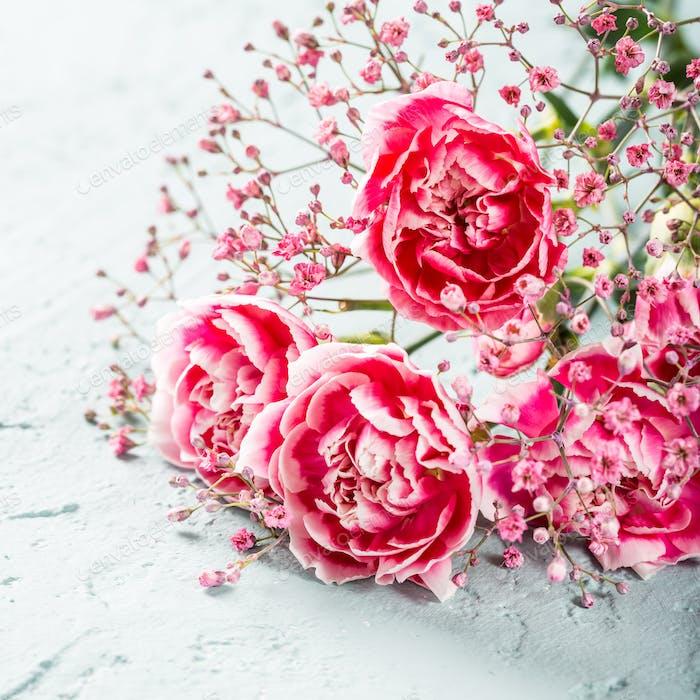 Blumenstrauß von rosa Nelke auf helltürkis Holzhintergrund