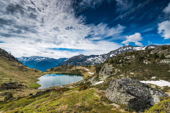Lake Tristaina in Andorra Pyrenees at spring