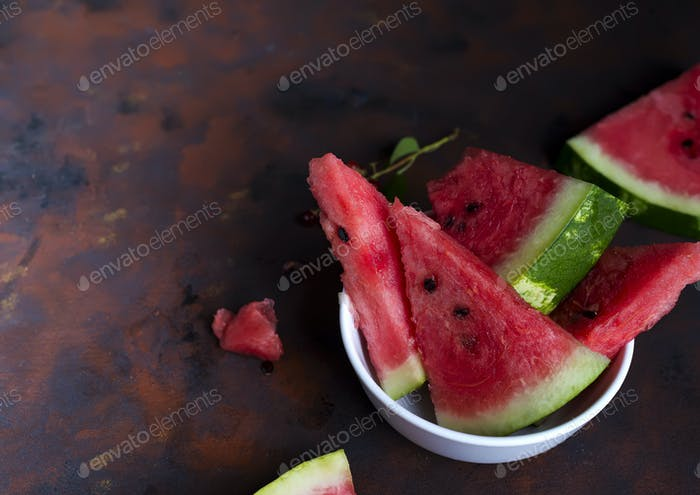 fresh melon pieces