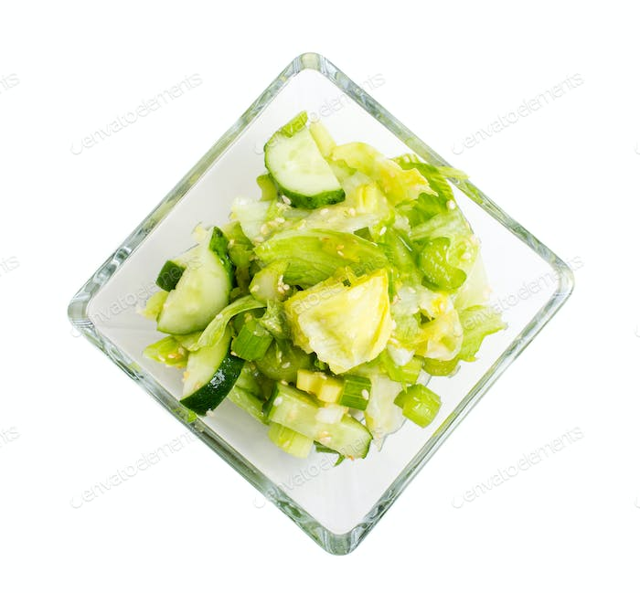 Fresh vegetarian salad with celery and cucumber.