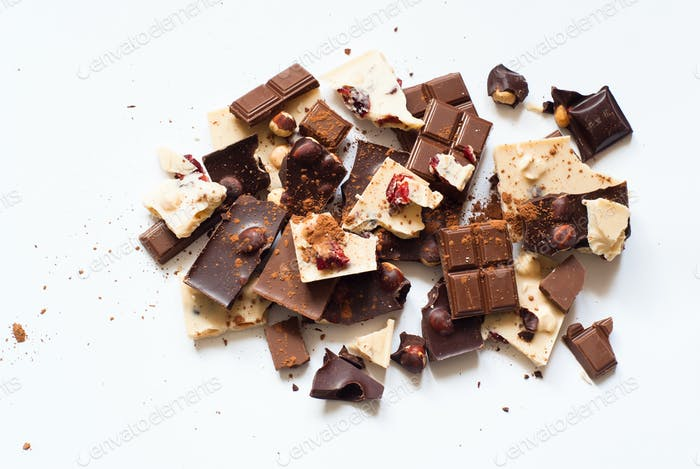 Different varieties of chocolate.