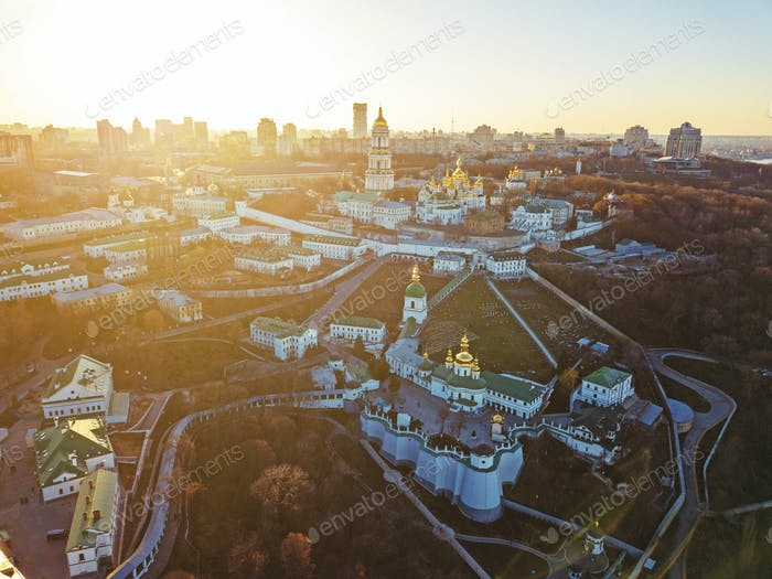 The Kiev Pechersk Lavra with historical cathedral of the monastery. Panoramic photography from the