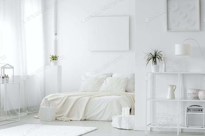 Cozy, white bedroom interior