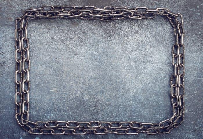Chain frame on grunge