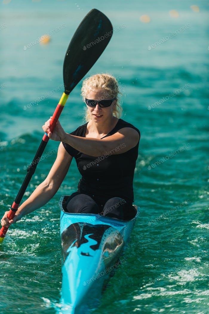Kayak - female kayaker, training
