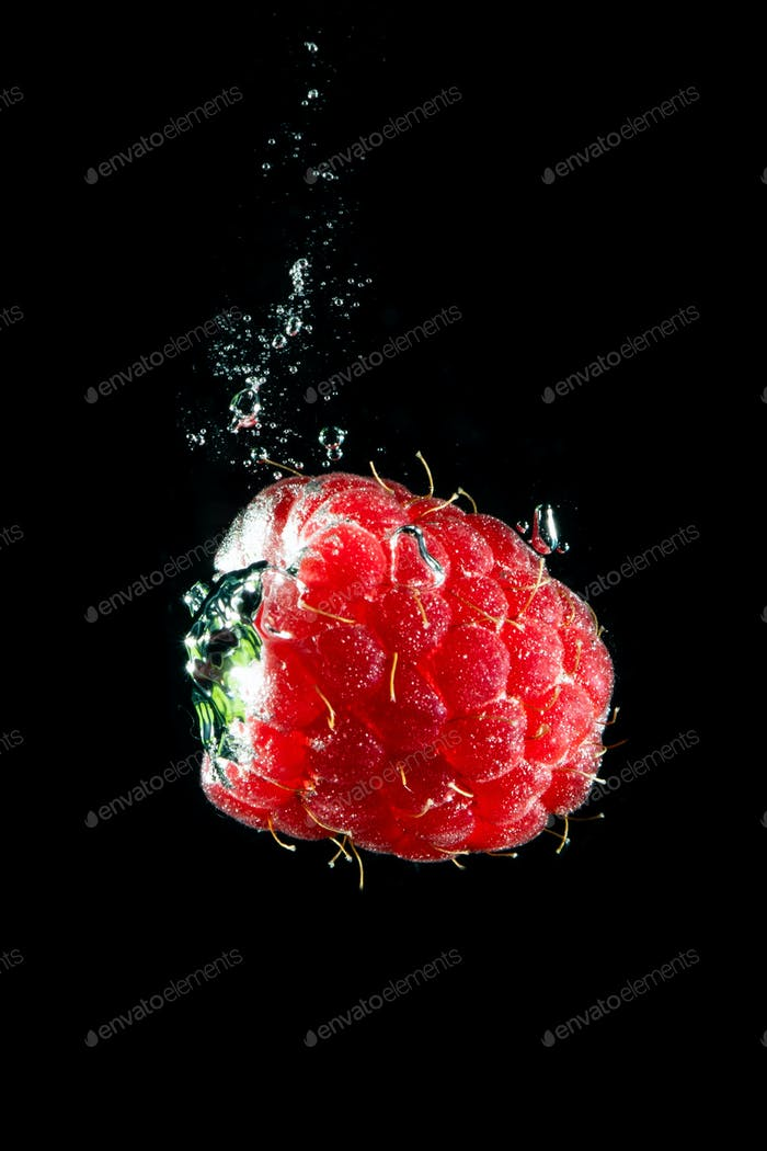 Fresh berry falling in water