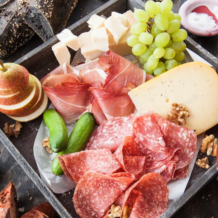 Thumbnail for Variety of salami and cheeses
