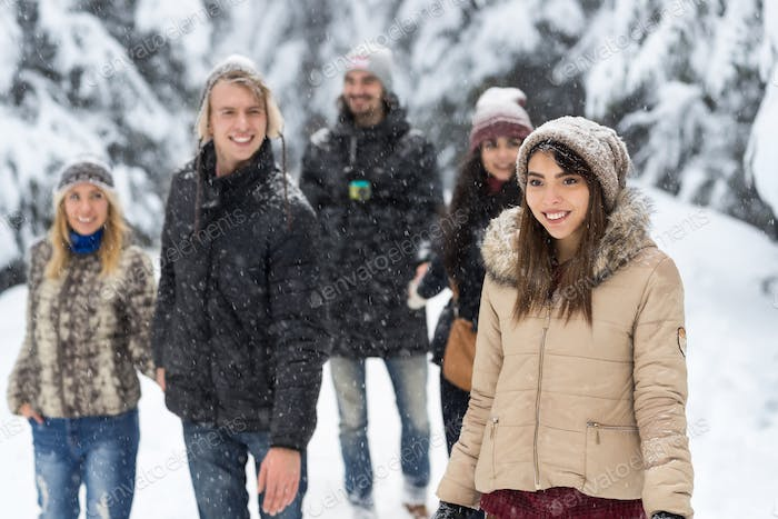 Friends Group Snow Forest Happy Smiling Young People Walking Outdoor