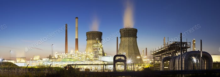 Refinery Panorama At Night