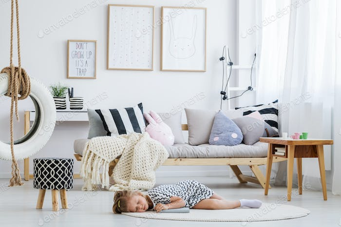 Girl lying on floor