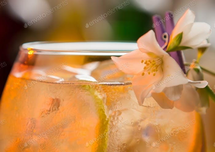 Drink decorated with a flower