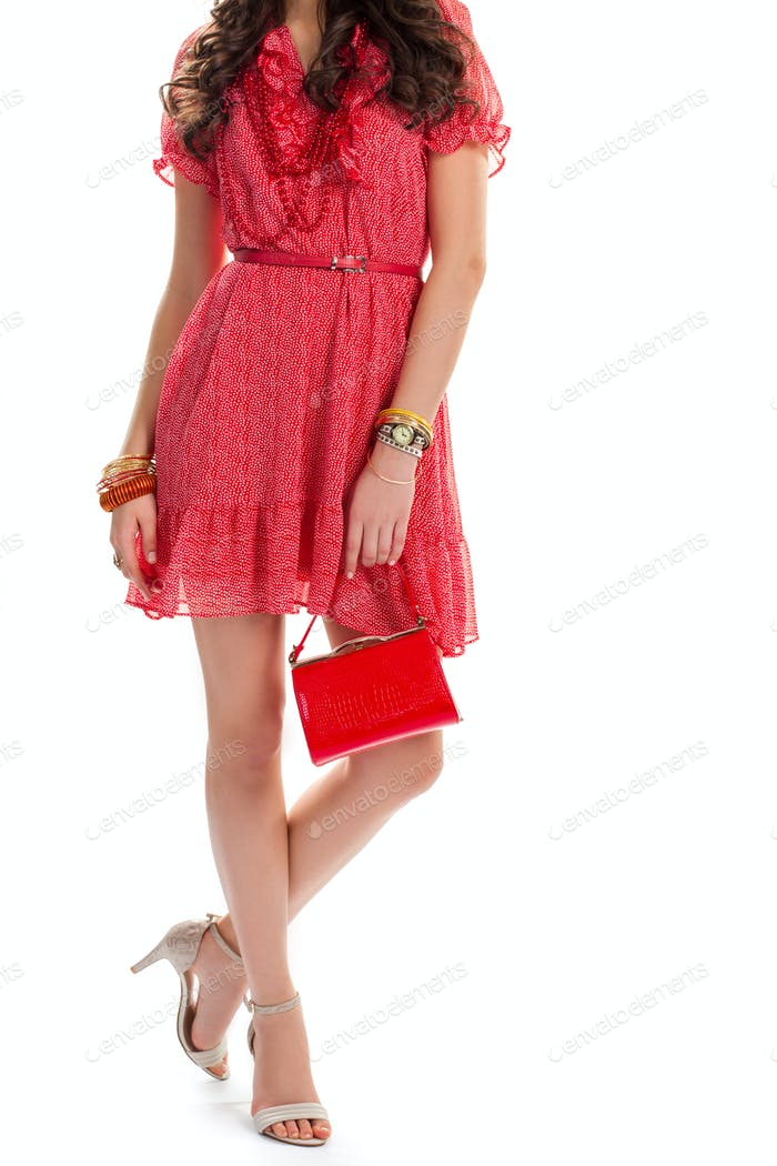 Woman in short casual dress