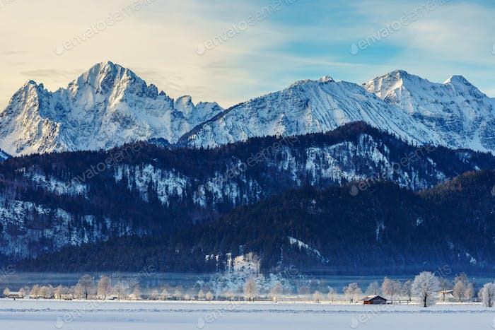 Winter landscape in schwangau, German, Europe