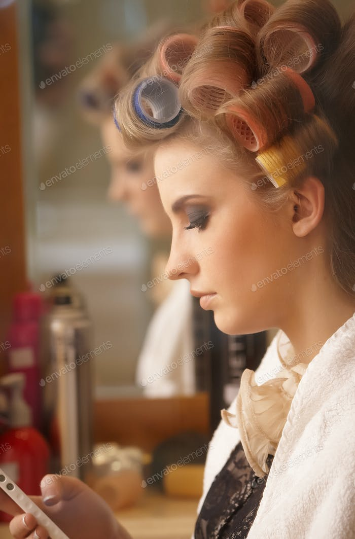 Woman visiting hair salon