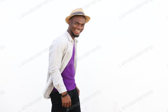 Stylish young african american man smiling