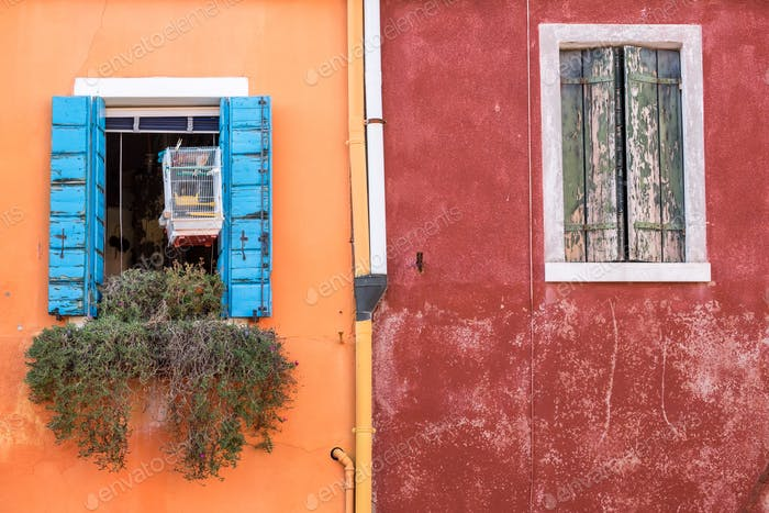 Colorful walls and windows on Burano island, Venice