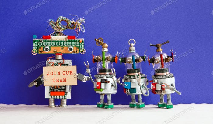 Join our team concept. Four funny robots looking for a new assistant