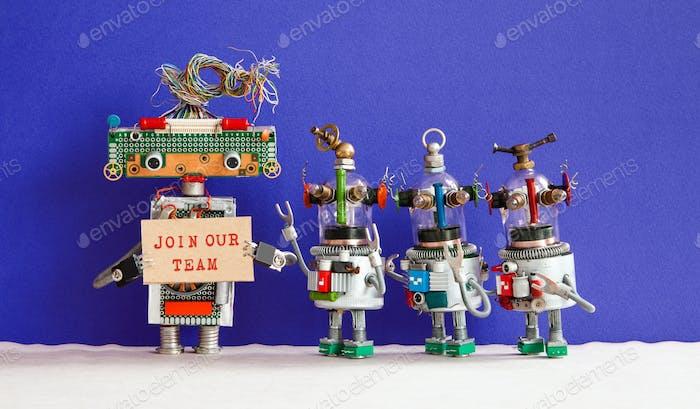 Werden Sie Teil unseres Teamkonzepts. Vier lustige Roboter suchen einen neuen Assistenten