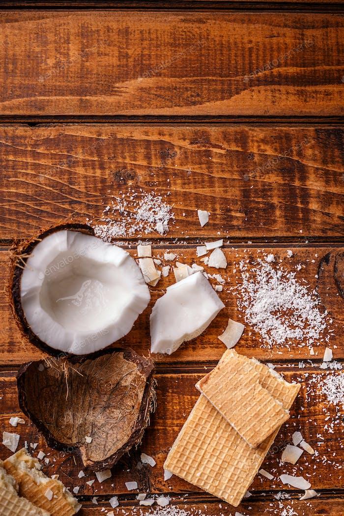 Waffelriegel aus weißer Schokolade