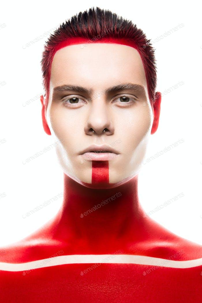 Superhiro Kunst Make-up. Portret schließen.