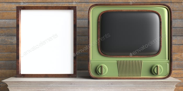Vintage TV and photo frame on a shelf, wooden wall background. 3d illustration