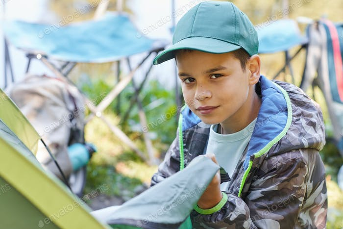 Portrait of Boy Camping