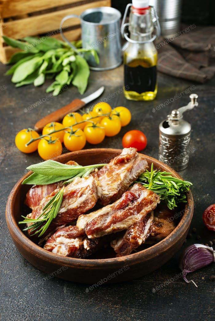raw ribs meat