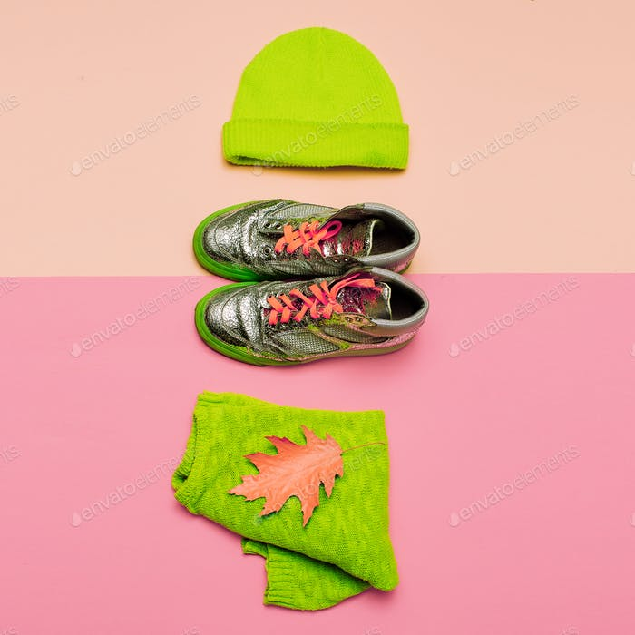 Stylish set of clothes. Beanie jacket and sneakers. Urban casual