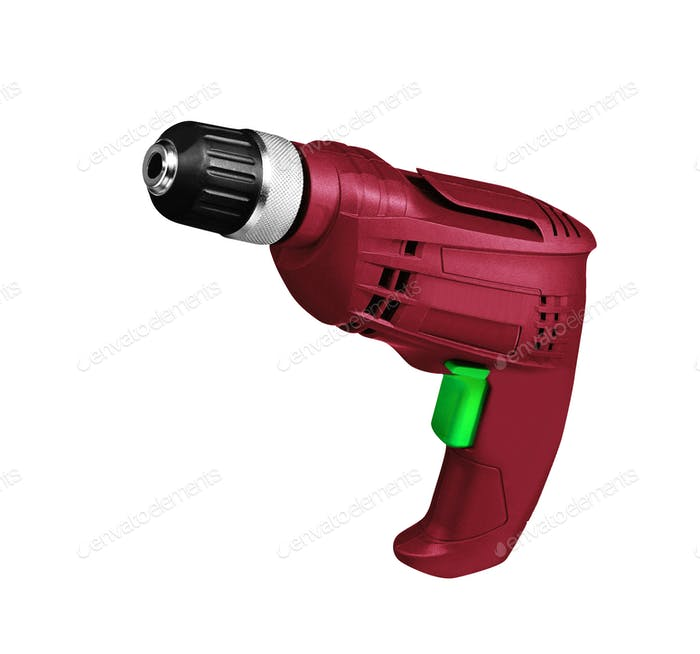Red screwdriver drill isolated on a white