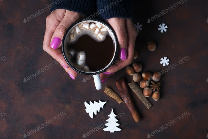 Woman holding cup of hot chocolate.