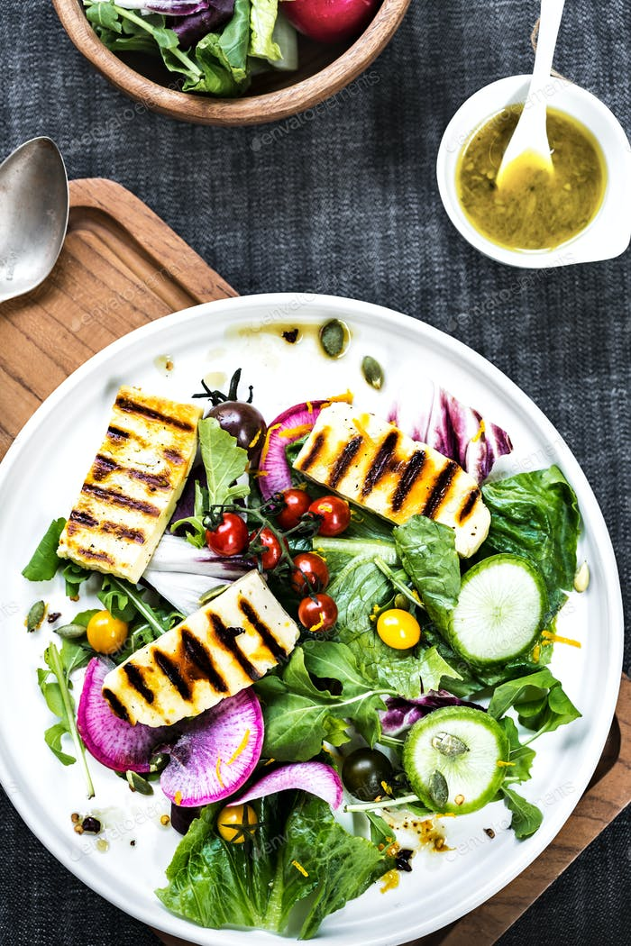 Grilled Halloumi on fresh salad  with Orange Vinaigrette