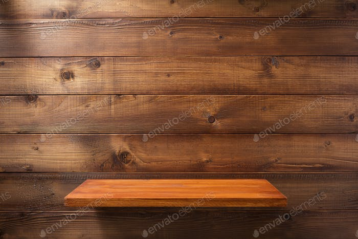 shelf at wooden background wall